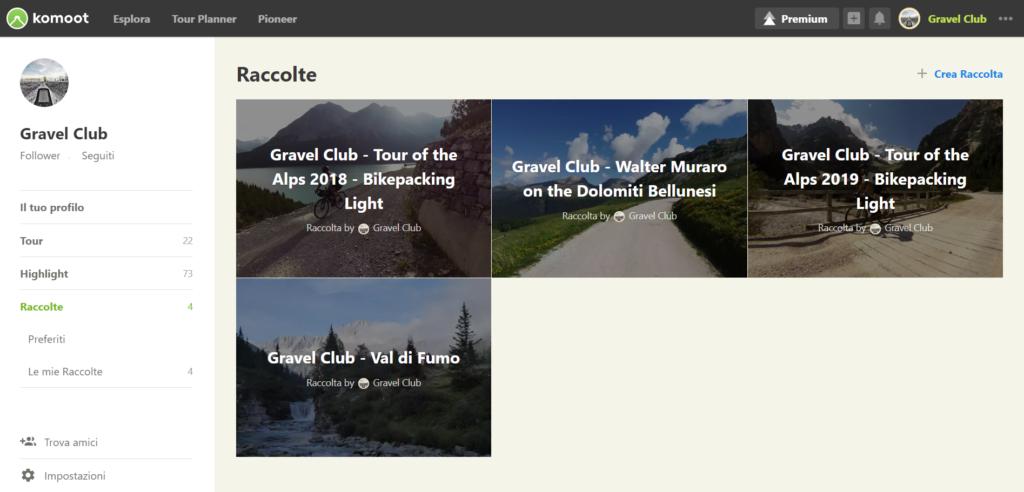 Pagina Komoot Collections del Gravel Club